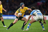 David Pocock of Australia in possession. Rugby World Cup Semi Final between Argentina v Australia on October 25, 2015 at Twickenham Stadium in London, England. Photo by: Patrick Khachfe / Onside Images