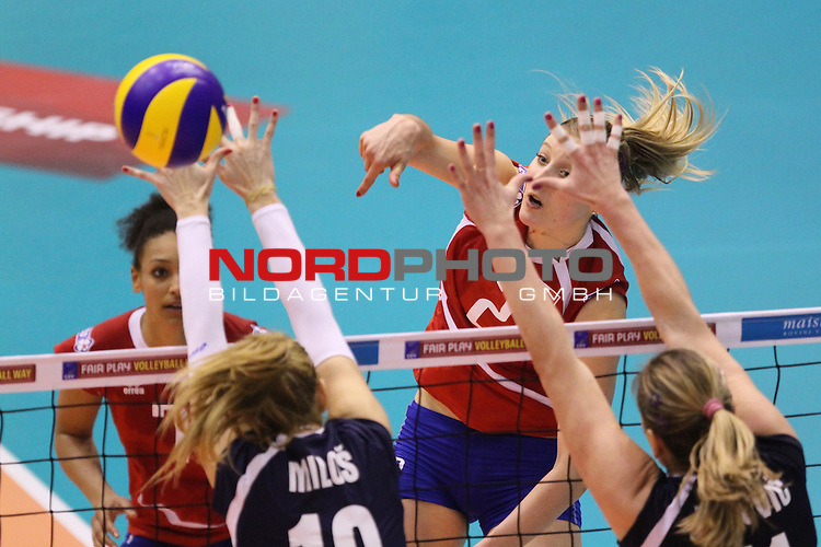 04.01.2014., Gimnasium Hall, Rovinj, Croatia - Qualifier volleyball tournament for the World Cup qualifications, Croatia - France.<br /> im Bild Camille Crousillat<br /> Foto &copy;  nph / PIXSELL / Nel Pavletic