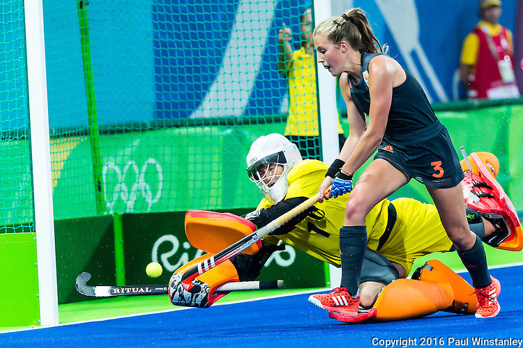 Maddie Hinch #1 of Great Britain makes the save from Xan de Waard #3 of Netherlands during Netherlands vs Great Britain in the gold medal final at the Rio 2016 Olympics at the Olympic Hockey Centre in Rio de Janeiro, Brazil.