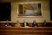 Roma 13 Novembre 2013<br /> Conferenza stampa al Senato del presidente della Repubblica araba Sahrawi Mohamed Abdelaziz in occasione dell'incontro con  l'Intergruppo parlamentare di solidariet&agrave; con il Popolo Sahrawi per fare il punto sulla situazione nel Sahara occidentale . Il  presidente della Repubblica araba Sahrawi Mohamed Abdelaziz con il senatore Stefano Vaccari