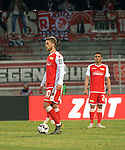 12.04.2019, Stadion an der Wuhlheide, Berlin, GER, 2.FBL, 1.FC UNION BERLIN  VS. Jahn Regensburg, <br /> DFL  regulations prohibit any use of photographs as image sequences and/or quasi-video<br /> im Bild Sebastian Andersson (1.FC Union Berlin #10), Manuel Schmiedebach (1.FC Union Berlin #24), Florian Huebner (1.FC Union Berlin #19)<br /> <br />      <br /> Foto &copy; nordphoto / Engler