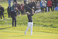Bryson DeChambeau (Team USA) on the 5th fairway during the Friday Foursomes at the Ryder Cup, Le Golf National, Ile-de-France, France. 28/09/2018.<br /> Picture Thos Caffrey / Golffile.ie<br /> <br /> All photo usage must carry mandatory copyright credit (© Golffile | Thos Caffrey)