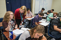 NWA Democrat-Gazette/ANTHONY REYES &bull; @NWATONYR<br /> Christine Morledge helps students in her physics class Monday, Sept. 14, 2015 at Har-Ber High School in Springdale. The high school has seen a rising student population with numbers exceeding 2,100 students. The school has added a number of teaching positions.
