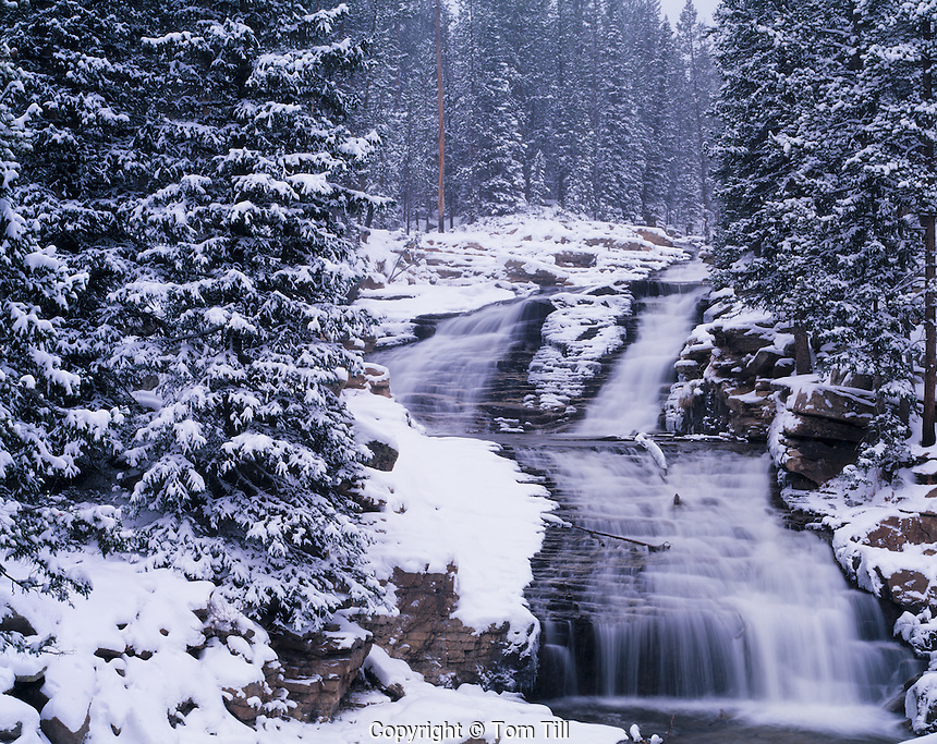 Upper Provo River Falls in Winter, Wasatch / Cache National Forest, Utah