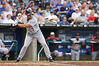Detroit Tigers DH Ivan Rodriguez in action against the Royals at Kauffman Stadium in Kansas City, Missouri on May 5, 2007.