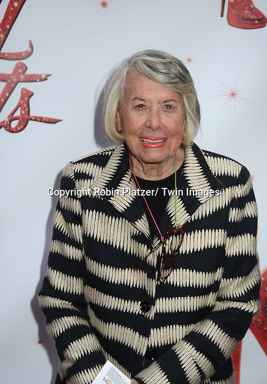 "Liz Smith arrives at the ""Kinky Boots"" Broadway Opening on April 4, 2013 at The Al Hirschfeld Theatre in New York City. Harvey Fierstein wrote is the Book Writer and Cnydi Lauper is the Composer."