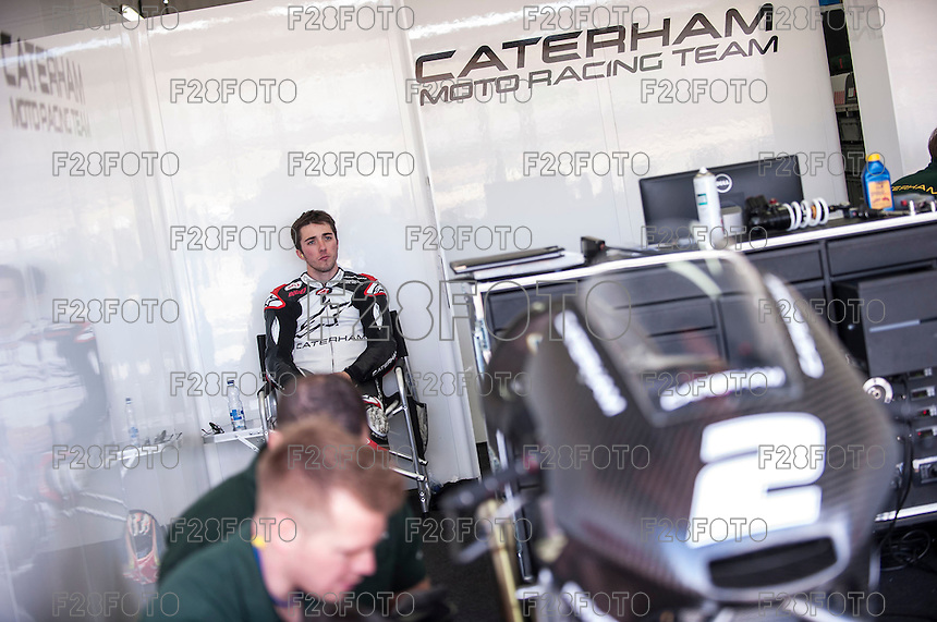 Josh Herrin in Caterham box at pre season winter test IRTA Moto3 & Moto2 at Ricardo Tormo circuit in Valencia (Spain), 11-12-13 February 2014