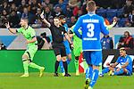 01.12.2018, wirsol Rhein-Neckar-Arena, Sinsheim, GER, 1 FBL, TSG 1899 Hoffenheim vs FC Schalke 04, <br /> <br /> DFL REGULATIONS PROHIBIT ANY USE OF PHOTOGRAPHS AS IMAGE SEQUENCES AND/OR QUASI-VIDEO.<br /> <br /> im Bild: Gelbe Karte fuer Matija Nastasic (#5, FC Schalke 04) von Schiedsrichter Dr. Robert Kampka<br /> <br /> Foto &copy; nordphoto / Fabisch