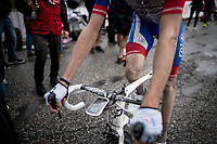 Kilian Frankiny (SUI/Groupama - FDJ) after finishing the stage where the weather turned foul in the finale<br /> <br /> Stage 9: Andorra la Vella to Cortals d'Encamp (94km) - ANDORRA<br /> La Vuelta 2019<br /> <br /> ©kramon