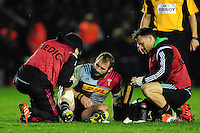 Joe Marler of Harlequins is treated for an injury. European Rugby Challenge Cup semi final, between Harlequins and Grenoble on April 22, 2016 at the Twickenham Stoop in London, England. Photo by: Patrick Khachfe / JMP