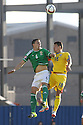 Romania's Andrei Prepelițand  Northern Ireland's Chris Baird clash during the UEFA EURO 2016 qualifying Group F soccer match between Northern Ireland and Romania at Windsor Park in Belfast, Northern Ireland, 13 June 2015.  EPA/PauL McErlane