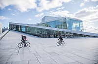 Very few poeple outside the Oslo Opera  House, normally very busy with tourists. <br />
