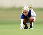 SIOUX FALLS, SD - SEPTEMBER 24:  Hallie Getz from South Dakota State University lines up her putt on the fifteenth hole Tuesday morning at Minnehaha Country Club during the Jackrabbit Fall Invitational.  (Photo by Dave Eggen/Inertia)