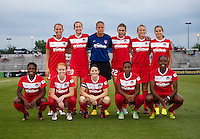 The Washington Spirit lines up before a game at the Maryland SoccerPlex in Boyds, MD.