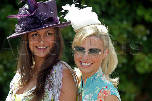 16 June 2004: Mrs Melissa Lawton Eronat and Mrs Paul Lawton pose for pictures at Royal Ascot Photo: Steve BardensAction Plus...horse racing 040616 fashion women ladies lady hat hats  dress dresses