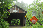 Bendo Bridge carrying Conklin Hill Road over the Willowemoc Creek near the Covered Bridge Campste grounds in Willowemoc, NY  in the Catskill Mountains on Friday July 25, 2008. It is a 48 Foot span Lattice Truss bridge built in 1860, in Livingston Manor, and then cut in half and moved to this site in 1913. Photo by Jim Peppler. Copyright Jim Peppler/2008.