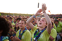 Belgian scouts at the IST opening ceremony. Photo: Magnus Fröderberg/Scouterna
