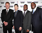 "Larry Bird, Tug Coker, Kevin Daniels & Earvin 'Magic' Johnson.attending the Broadway Opening Night Performance After Party for ""Magic / Bird"" at the Edison Ballroom in New York City on April 11, 2012"