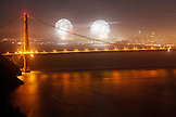 USA, California, San Francisco, a night shot of the Golden Gate Bridge and fireworks taken from the Marin Headlands on the 4th of July