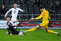 Bersant Celina of Swansea City has his shot saved by Samuel Şahin-Radlinger of Barnsley during the Sky Bet Championship match between Swansea City and Barnsley at the Liberty Stadium in Swansea, Wales, UK. Sunday 29 December 2019