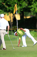 Thongchai Jaidee (THA) after getting a Hole-In-One on the 11th tee during Round 3 of the Maybank Malaysian Open at the Kuala Lumpur Golf & Country Club on Saturday 7th February 2015.<br /> Picture:  Thos Caffrey / www.golffile.ie