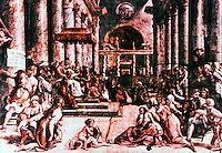 """Vatican:  Raphael's Rooms--""""Donation of Constantine"""", a frieze by Raphael in a reception room (Constantine) of the Palace of the Vatican."""