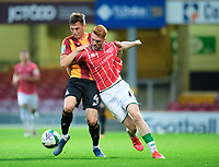 Lincoln City's Callum Morton vies for possession with Bradford City's Paudie O'Connor<br /> <br /> Photographer Chris Vaughan/CameraSport<br /> <br /> Carabao Cup Second Round Northern Section - Bradford City v Lincoln City - Tuesday 15th September 2020 - Valley Parade - Bradford<br />  <br /> World Copyright © 2020 CameraSport. All rights reserved. 43 Linden Ave. Countesthorpe. Leicester. England. LE8 5PG - Tel: +44 (0) 116 277 4147 - admin@camerasport.com - www.camerasport.com