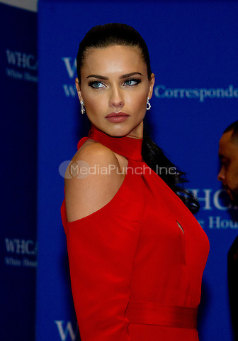 Model Adriana Lima arrives for the 2016 White House Correspondents Association Annual Dinner at the Washington Hilton Hotel on Saturday, April 30, 2016.<br /> Credit: Ron Sachs / CNP<br /> (RESTRICTION: NO New York or New Jersey Newspapers or newspapers within a 75 mile radius of New York City)/MediaPunch