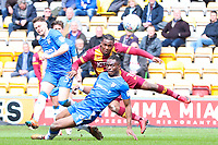 Dom Poleon shoots during the Sky Bet League 1 match between Bradford City and Gillingham at the Northern Commercial Stadium, Bradford, England on 24 March 2018. Photo by Thomas Gadd.