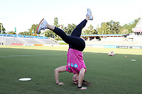 Cary, North Carolina  - Saturday September 09, 2017: Sabrina D'Angelo does a headstand prior to a regular season National Women's Soccer League (NWSL) match between the North Carolina Courage and the Houston Dash at Sahlen's Stadium at WakeMed Soccer Park. The Courage won the game 1-0.