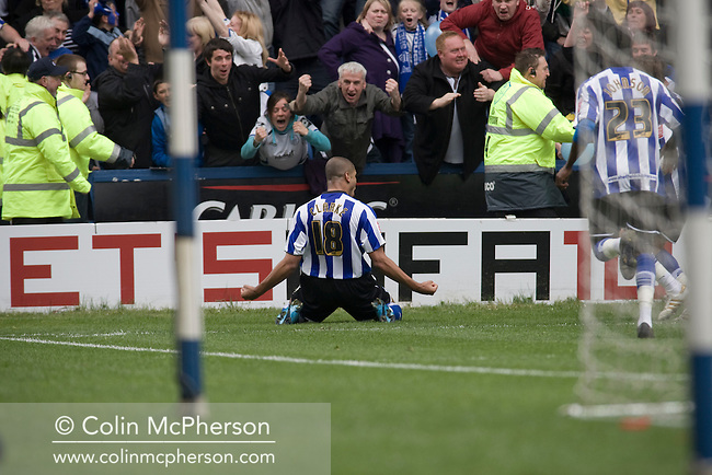 Sheffield Wednesday's Leon Clarke celebrating his team's opening goal at Hillsborough during the crucial last-day relegation match against Crystal Palace. The match ended in a 2-2 draw which meant Wednesday were relegated to League 1. Crystal Palace remained in the Championship despite having been deducted 10 points for entering administration during the season.