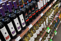 Red and white wines are seen in a Metro grocery store in Quebec city March 4, 2009.