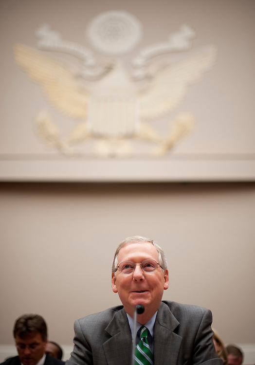 """UNITED STATES - JUNE 13: Senate Minority Leader Mitch McConnell, R-Ky., testifies during the Subcommittee on Energy and Power hearing on H.R.2054, the """"Energy and Revenue Enrichment Act of 2011 on Monday, June 13, 2011. (Photo By Bill Clark/Roll Call)"""