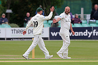 Joe Leach of Worcestershire celebrates with his team mates after taking the wicket of Alastair Cook during Worcestershire CCC vs Essex CCC, Specsavers County Championship Division 1 Cricket at Blackfinch New Road on 11th May 2018