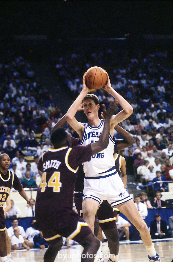Bradley in traffic<br /> <br /> Basketball vs Arizona State<br /> 45 Shawn Bradley<br /> <br /> Photo by Mark A. Philbrick/BYU<br /> <br /> Copyright BYU Photo 2012<br /> All Rights Reserved<br /> photo@byu.edu  (801)422-7322