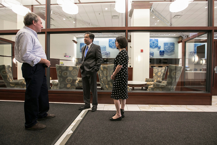 Bob Janis, left, vice president of facility operations, offers a tour of the Richard M. and Maggie C. Daley Building to DePaul President A. Gabriel Esteban, Ph.D., and his wife Josephine Wednesday, July 5, 2017. The Estebans spent an hour getting acquainted with the Loop Campus during Dr. Esteban's first week. (DePaul University/Jamie Moncrief)