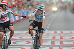 Austrian National Champion Lukas Postlberger (AUT) Bora-Hansgrohe and Tao Geoghegan Hart (GBR) Team Sky cross the finish line at the end of Stage 6 of the La Vuelta 2018, running 150.7km from Hu&eacute;rcal-Overa to San Javier, Mar Menor, Sierra de la Alfaguara, Andalucia, Spain. 30th August 2018.<br /> Picture: Colin Flockton | Cyclefile<br /> <br /> <br /> All photos usage must carry mandatory copyright credit (&copy; Cyclefile | Colin Flockton)