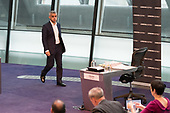 Sadiq Khan returns to the London Assembly chamber after Switched On London environmental campaigners bring Mayor's Question Time to a standstill to demand the London Mayor keeps his climate promises.  City Hall, London.