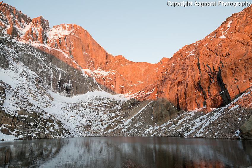 Sunrise on the Diamond from Chasm Lake, Long's Peak, Rocky Mountain National Park