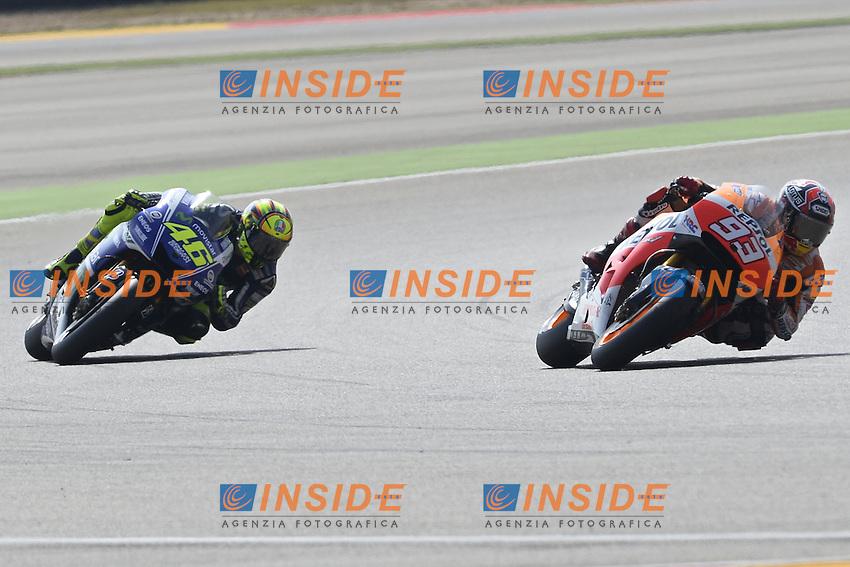Aragon (Spagna) 27/09/2014 - qualifiche Moto GP - foto Luca Gambuti/Image Sport/Insidefoto<br /> nella foto: Marc Marquez-Valentino Rossi