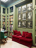 The office was inspired by the library of Sir John Soane's house in London, the circa 1760 prints are by Thomas Frye and the walls are painted in Farrow and Balls Suffield Green.