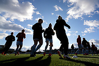 Sunderland players warm up during Arsenal Women vs Sunderland AFC Ladies, FA Women's Super League FA WSL1 Football at Meadow Park on 12th November 2017