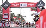 Marcel Kittel (GER) Quick-Step Floors comes around Caleb Ewan (AUS) Orica-Scott to win Stage 2 the Nation Towers Stage of the 2017 Abu Dhabi Tour, running 153km around the city of Abu Dhabi, Abu Dhabi. 24th February 2017.<br />