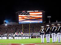 Blacksburg, VA - SEPT 30, 2017: Cadets salute as the National anthem is played before the Clemson and Virginia Tech at Lane Stadium/Worsham Field Blacksburg, VA. (Photo by Phil Peters/Media Images International)