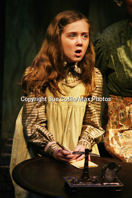 """Isabella Convertino (daughter of Liz Keifer) stars as Mary Lennox as Philipstown Depot Theatre presents The Secret Garden on November 7, 2009 in Garrison, New York. It runs Oct. 23 until Nov 15, 2009. The musical The Secret Garden is the story of """"Mary Lennox"""", a rich spoiled child who finds herself suddenly an orphan when cholera wipes out the entire Indian village where she was living with her parents. She is sent to live in England with her only surviving relative, an uncle who has lived an unhappy life since the death of his wife 10 years ago. """"Archibald's son Colin"""", has been ignored by his father who sees Colin only as the cause of his wife's death.This is essentially the story of three lost, unhappy souls who, together, learn how to live again while bringing Colin's mother's garden back to life. (Photo by Sue Coflin/Max Photos)........"""