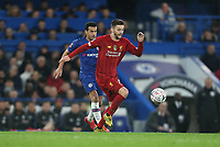Liverpool's Adam Lallana and Chelsea's Pedro<br /> <br /> Photographer Rob Newell/CameraSport<br /> <br /> The Emirates FA Cup Fifth Round - Chelsea v Liverpool - Tuesday 3rd March 2020 - Stamford Bridge - London<br />  <br /> World Copyright © 2020 CameraSport. All rights reserved. 43 Linden Ave. Countesthorpe. Leicester. England. LE8 5PG - Tel: +44 (0) 116 277 4147 - admin@camerasport.com - www.camerasport.com