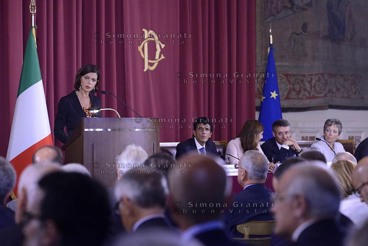 Roma, 2 Luglio 2015<br /> Presentata la relazione annuale dell'Autorit&agrave; nazionale anticorruzione al Parlamento.<br /> Nella foto la Presidente della Camera dei Deputati, Laura Boldrini.