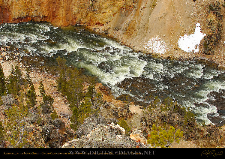 Rapids below the Lower Falls in Winter, Grand Canyon of the Yellowstone River, Yellowstone National Park, Wyoming