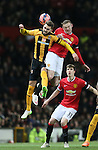 Greg Taylor of Cambridge Utd challenges Wayne Rooney of Manchester United - FA Cup Fourth Round replay - Manchester Utd  vs Cambridge Utd - Old Trafford Stadium  - Manchester - England - 03rd February 2015 - Picture Simon Bellis/Sportimage