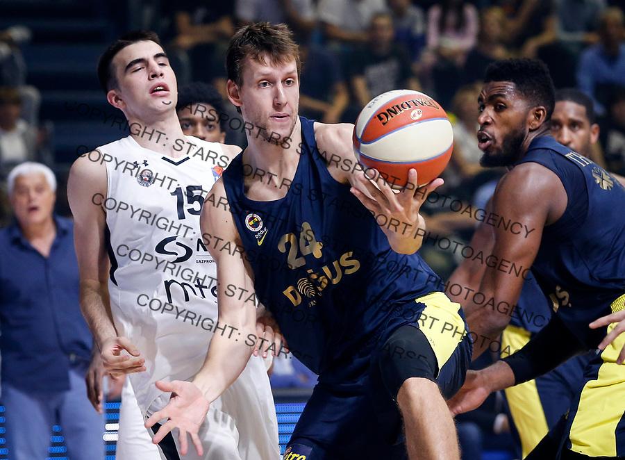 Kosarka Baketball season 2017-2018<br /> Friendly Match<br /> Partizan v Fenerbahce<br /> Jan Vesely (C) and Marko Pecarski (L)<br /> Beograd, 26.09.2017<br /> foto: Srdjan Stevanovic/Starsportphoto &copy;